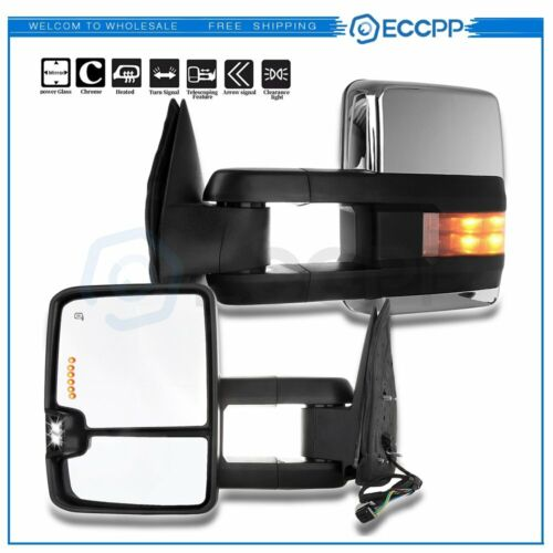 Smoke Led Signal Power Tow Chrome Mirrors For 99 02 Silverado Sierra Pair Ebay
