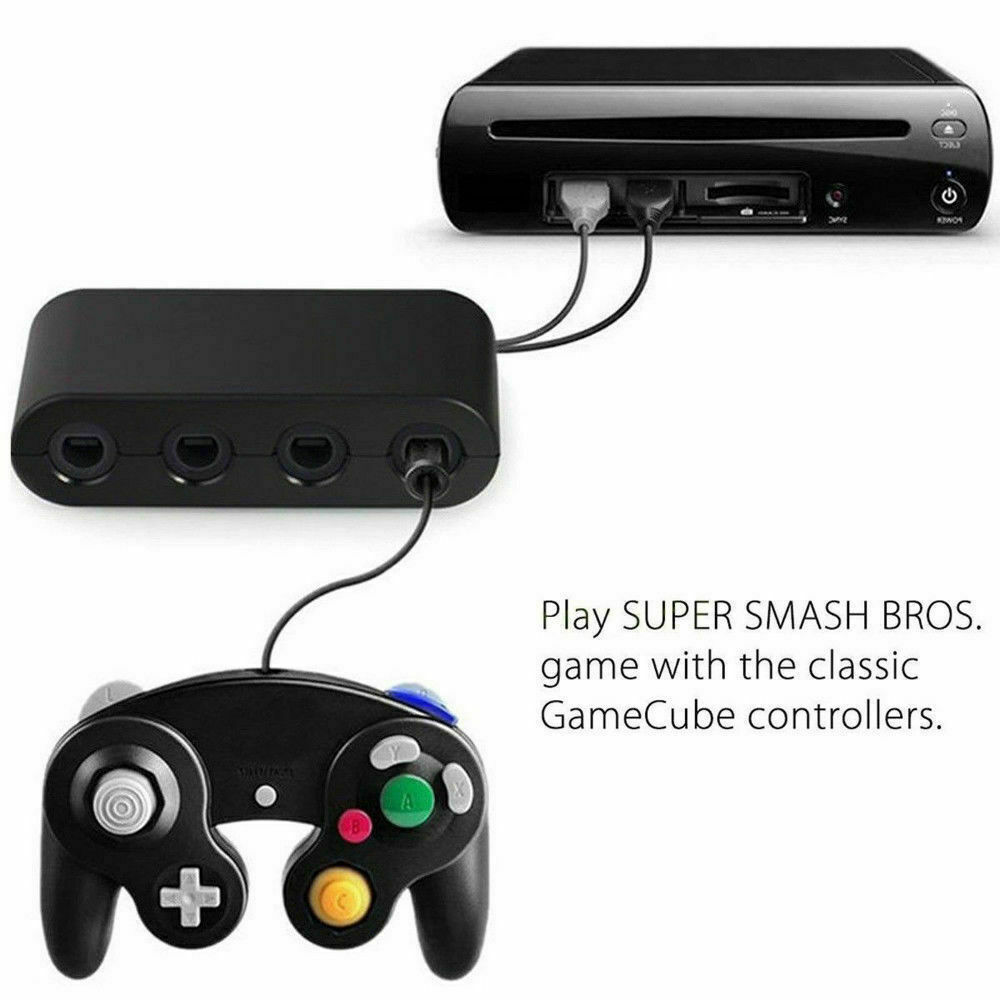 GameCube Controller Adapter 4 port for nintendo Switch Wii U & PC USB NEW TURBO Cables & Adapters