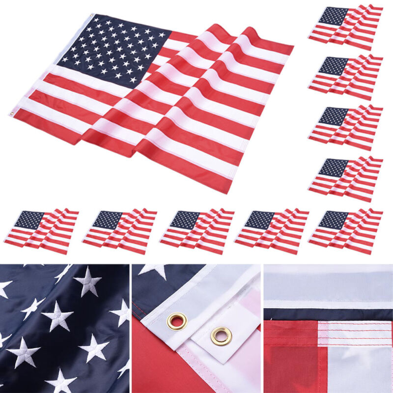 10Pcs 3x5FT US American Flag Stars 210D Oxford Sewn Stripes Brass Grommets USA