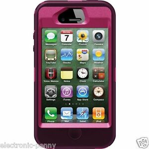 NEW OTTERBOX DEFENDER SERIES CASE FOR THE IPHONE 4 4S Red Peony Pink/Deep Plum