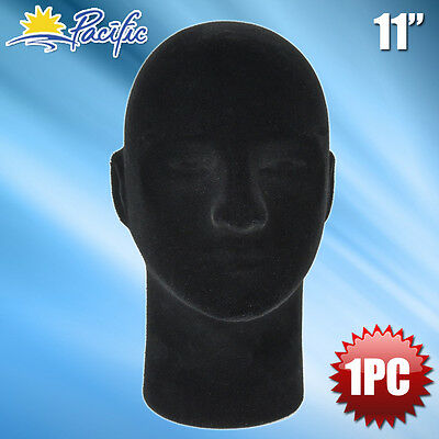New Male Styrofoam Foam Black Mannequin Head Display Wig Hat Glasses 1pc