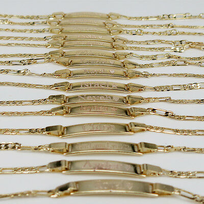 """Baby ID Bracelet 14K Gold GF 6"""" Engraved Free for new born and Kids"""