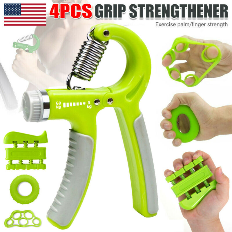 4X Hand Grip Strengthener Gripper Piano Finger Exerciser Therapy Forearm Trainer