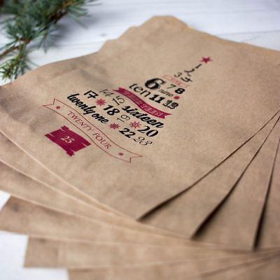 Advent Christmas Brown Paper Kraft Bags Set of 10 Bags - Gift Bags / DIY Advent