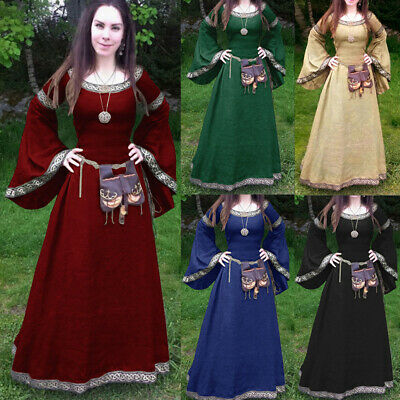 Plus Size S-5XL Women Long Flare Sleeve Medieval Fairy Dress Renaissance Costume
