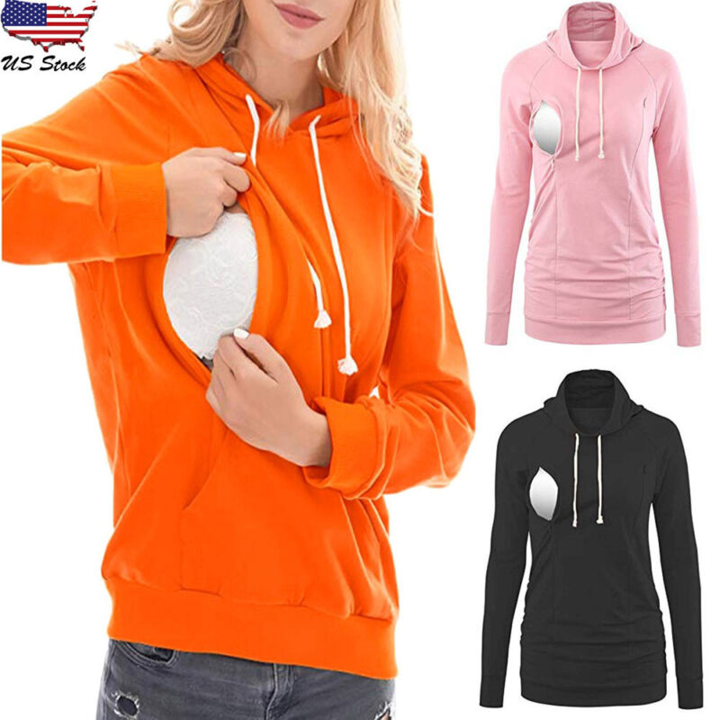 Women Nursing Solid Long Sleeve Shirt Breastfeeding Top Blou