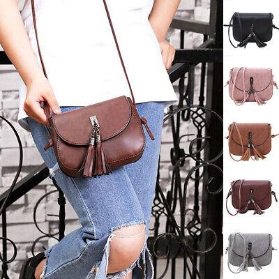 Women Tassel Handbag Satchel Messenger Cross Body Leather Shoulder Bag Purse USA - Leather Tassels