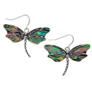 Dragonfly Fashionable Earrings - Fish Hook - Abalone Shell - Sparkling Crystal