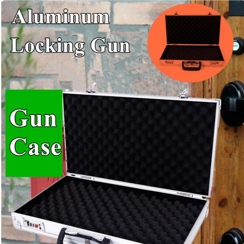 "Super buy 18.5"" Aluminum Framed Locking Gun Pistol HandGun Lock Box Hard Storage Carry Case"