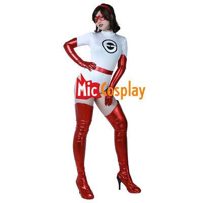 Mrs. Incredible Elastigirl Helen Parr White Jumpsuit Cosplay Costume + Eyepatch - Elastigirl Costumes