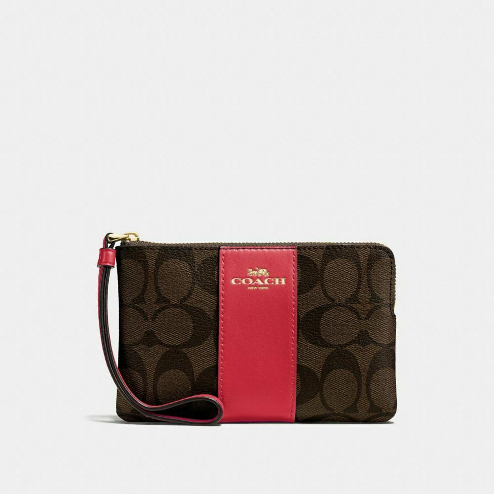 New Coach F58032 F58035 Corner Zip Wristlet With Gift Box New With Tags Brown True Red