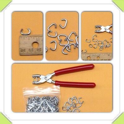 """Hog Ring Pliers & 50 3/8"""" Hog Rings tags sausage casing traps fences doll repair"""