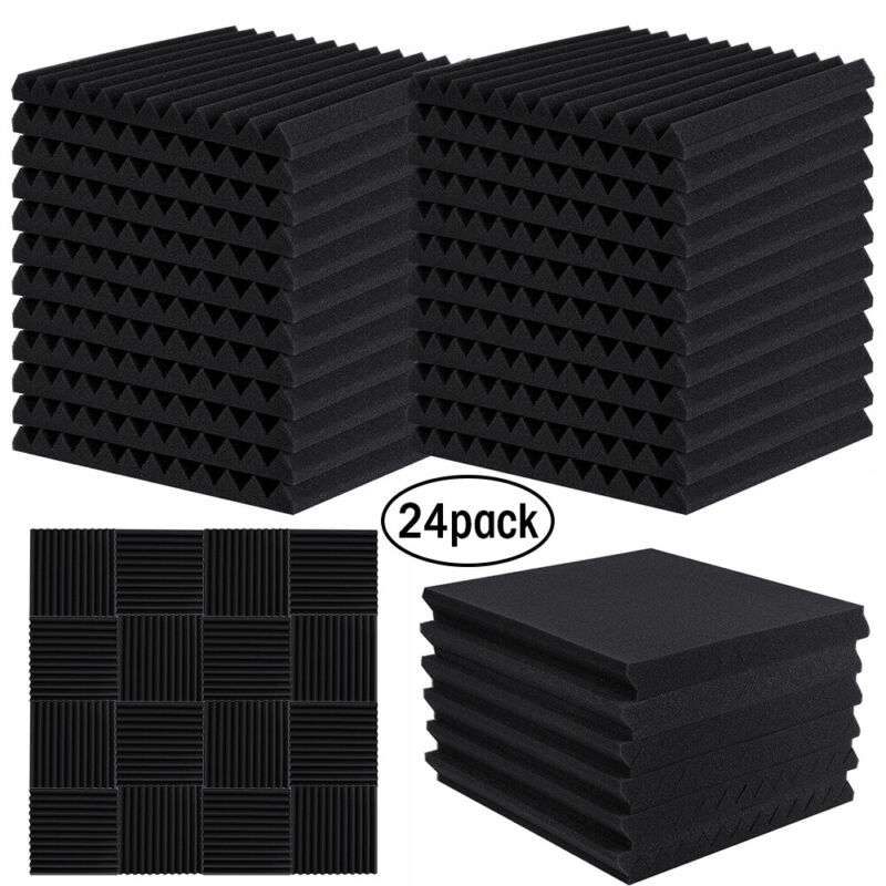 "24Pack Acoustic Panels Soundproof Studio Foam Insulation Wall Tiles 12 X 12 X 1"""