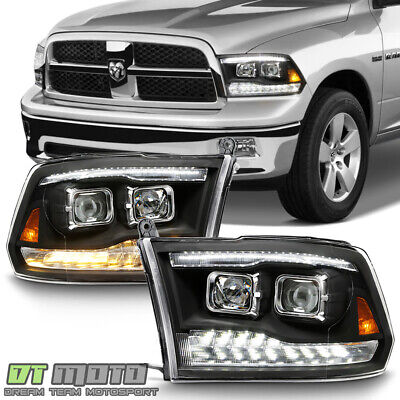 2009-2018 Dodge Ram 1500 2500 3500 Black LED DRL/Turn Dual Projector Headlights