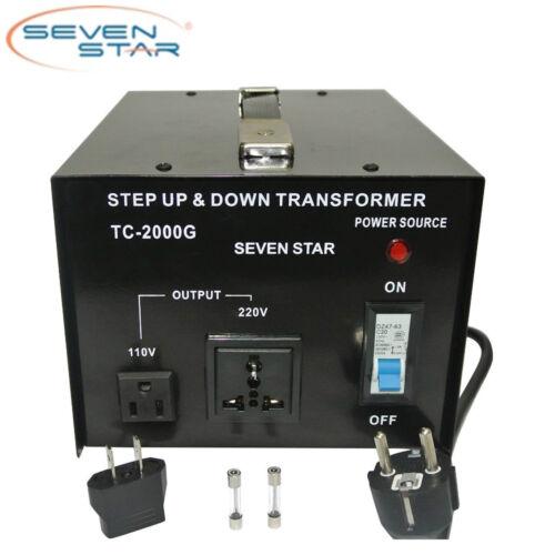 SevenStar TC-2000W Watt 110V-220 Volt Up/Down Transformer Heavy-Duty Converter