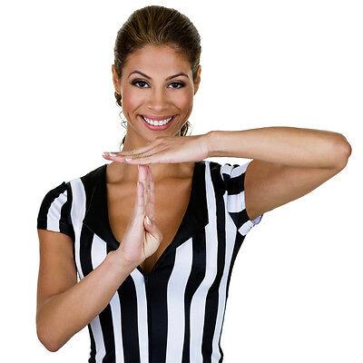 Womens Football Kostüm (Women's Official Striped Referee Umpire Jersey Shirt Basketball Football Soccer)
