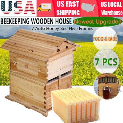 7x Upgraded Auto Honey Hive Beehive Flow Frames Beekeeping Brood Cedarwood Box
