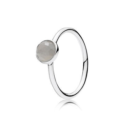 NEW AUTHENTIC PANDORA JUNE DROPLET RING GREY MOONSTONE 191012MSG SIZE 6 9077