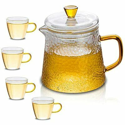Tea Set Glass Teapot Cup 15.2oz/450ml Pot With Infuser Loose And Cups 4oz/120ml,