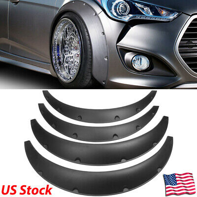 4''/100mm Universal Fender Flares Black Flexible Overfenders Wheel Arches 4Pcs