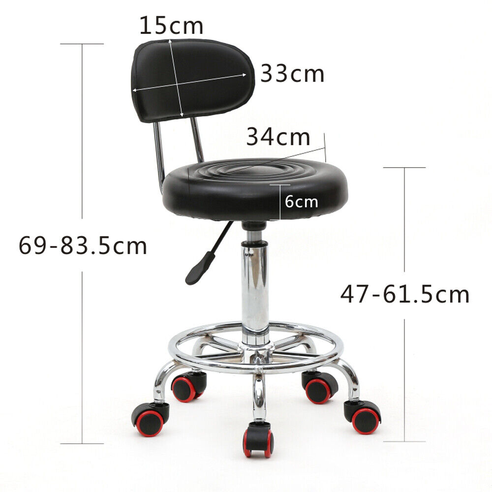 Adjustable 5 Wheels Stool Chair  with Back  360 Swivel For