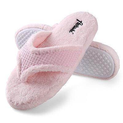 Aerusi Pink Women Fuzzy Plush Thong Spa Slippers Memory