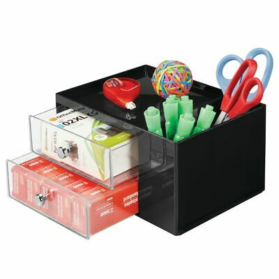Mdesign Plastic Office Storage Caddy Desk Organizer 4 Sections - Blackclear