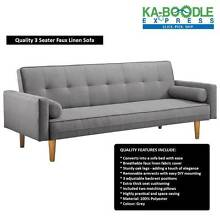 LIMITED TIME!! 3 Seater Faux Linen Fabric Sofa Bed Lounge Brisbane City Brisbane North West Preview