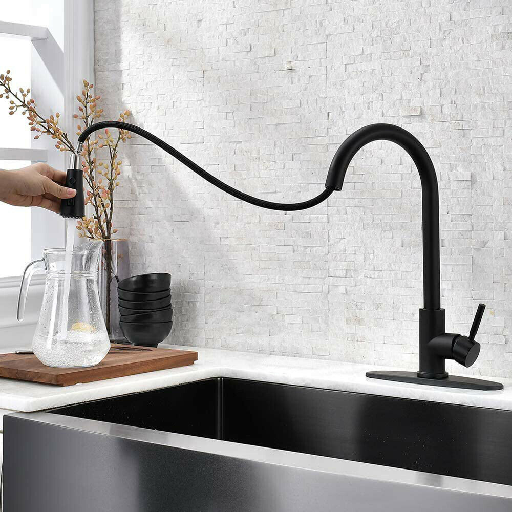 Kitchen Faucet Black Pull Down Sprayer Head 3 Holes Sink Taps W/soap dispenser 5