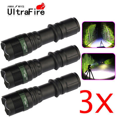 3XUltrafire Tactical 20000Lumens LED Flashlight Torch Lamp T6 Zoomable 18650