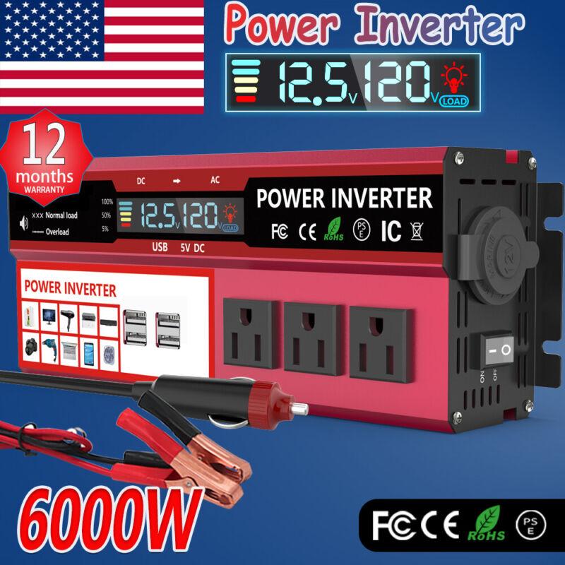 Power Inverter 6000W Sine Wave DC 12V To AC 120V Car Converter LCD Charger Solar