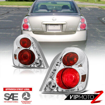 "Chrome & Red ""FACTORY STYLE"" Tail Lights SET Fit 2002-2006 Nissan Altima 4-Door"