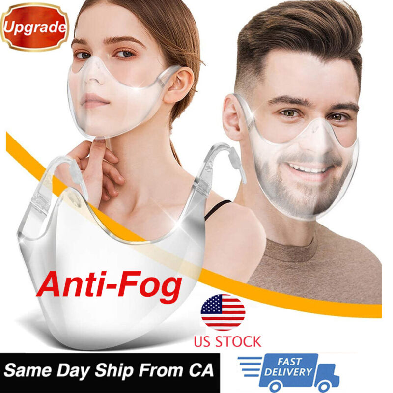 Transparent Anti-fog Face Mask Shields Full Covering Clear Reusable Face Mask