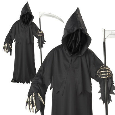 Grim Reaper Kids Boys Halloween Scary Horror Death Fancy Costume One Size - Childrens Scary Costumes