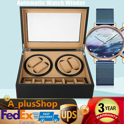 Automatic Rotation 4+6 Watch Winder Leather Display Box Case Black USA STOCK
