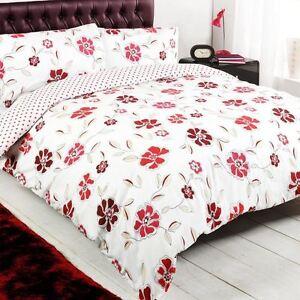 floral polka dot red white reversible king duvet quilt. Black Bedroom Furniture Sets. Home Design Ideas