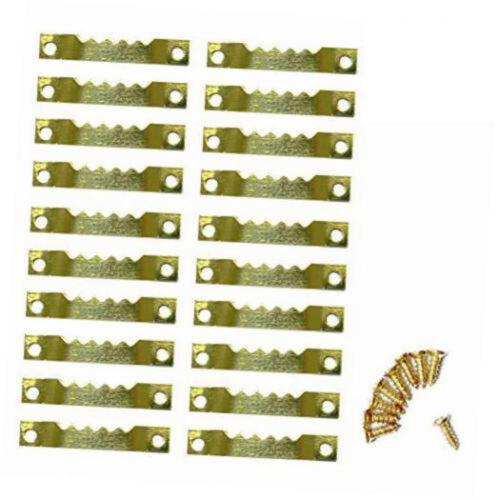 Golden 100Pcs Sawtooth + 200 Screws Picture Frames Hanging H