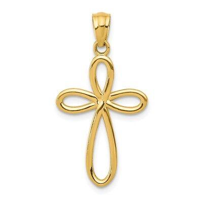 14k Yellow Gold Ribbon Cross Charm Pendant 0.91 Inch