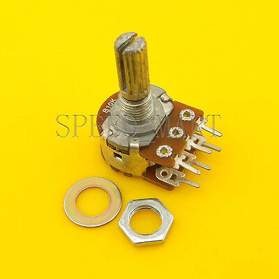 B10k Ohm Dual Linear Rotary Potentiometer Pot 20mm Shaft 6 Pins