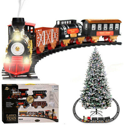 Large Electric Christmas Train Track Set W/ Light Sound Real Smoke Kids Toy Gift
