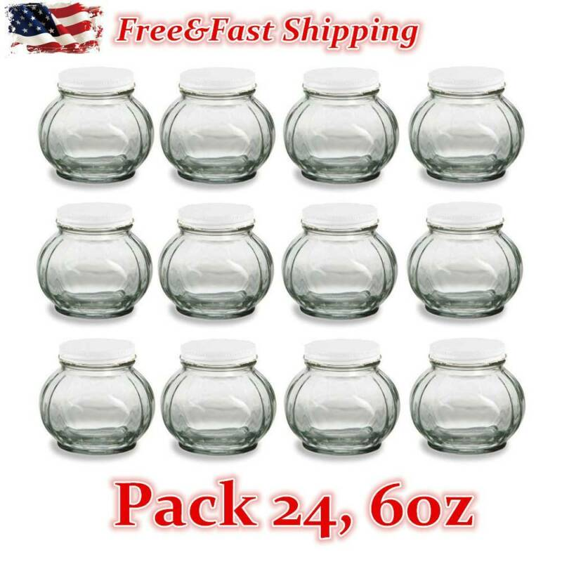 24 Pack Faceted Round Glass Jars with Silver Lids for Jam, H