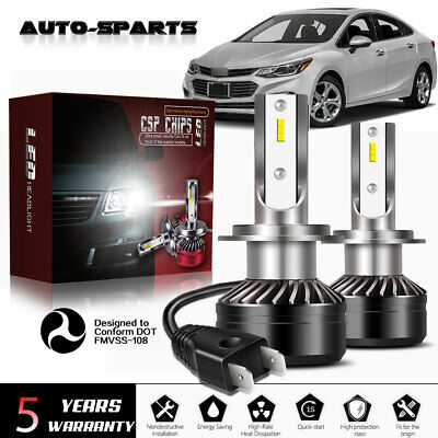 H7 LED Headlights Bulbs Set High/Low Beam 60W 12000LM 6500K White Error Free, used for sale  Florence