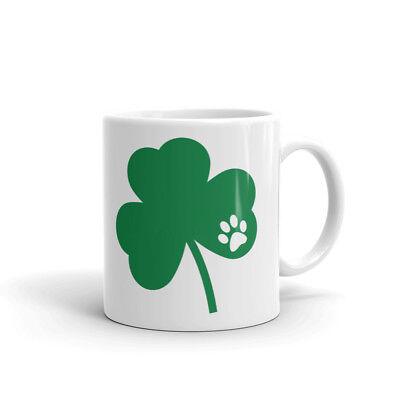 Irish Shamrock Leaf Dog Paw Coffee Tea Ceramic Mug Office Work Cup Gift