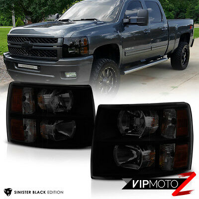 "2007-2013 Chevrolet Silverado 1500 2500HD 3500HD ""SINISTER BLACK"" Headlights Set"