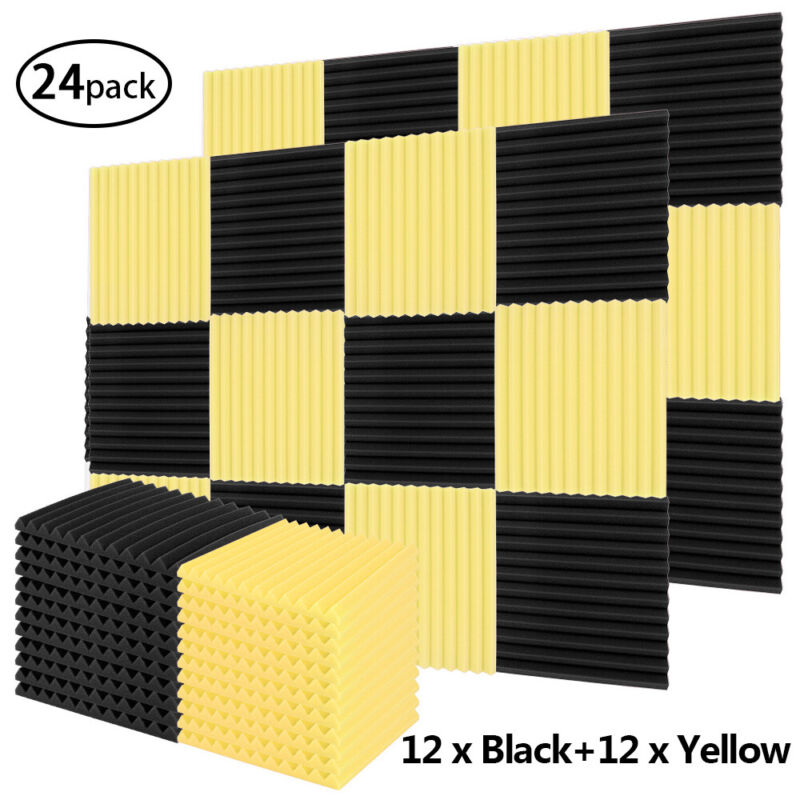 24PCS Acoustic Foam Panel Soundproofing Studio Black and Yellow Panel 1x12x12in