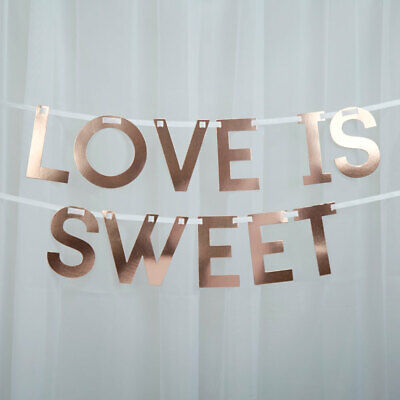 Love is Sweet Rose Gold Candy Sweet Buffet Wedding Venue Decoration