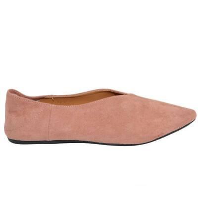 Scarpe ballerine a punta donna basse rosa in camoscio moda comfort fondo antisci