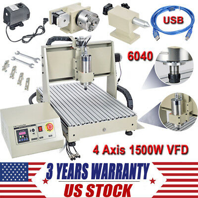 Usb Port 4 Axis Cnc Router 6040t Engraver Kit 1500w 3d Engraving Machine Mach3