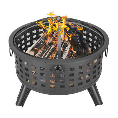 """26"""" Round Fire Pit Fire Bowl Ceramic Wood Burning Grill Outdoor Firepit /w Cover"""