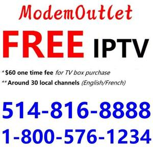 FREE IPTV box with 50M internet plan $29.98/month, Unlimited usage. 30 local channels. Call 1-800-576-1234 to order
